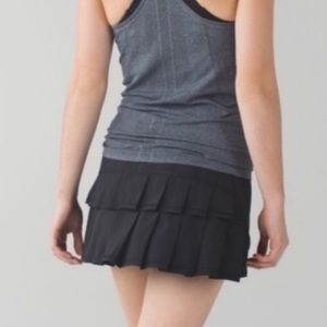 Lululemon Pace Setter Skirt Black Ruffle Tennis 10